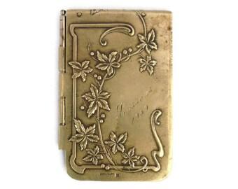 E.Dropsy Signed French Art Nouveau Antique Aide Memoire/Carnet de bal/Art Nouveau aide memoire