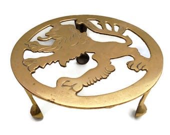 Antique Vintage Brass Fire Side Lion Trivet/Solid Brass Trivet/Round Brass Trivet/Ornate Brass Trivet/Metal Trivet/British Metal Trivet