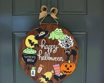 Halloween Door Hanger, Halloween Sign, Halloween Decor, Halloween Wood Sign, Fall Wood Sign, Fall Decor, Pumpkin Door Hanger, Halloween Sign