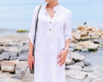 White linen shirt dress.Linen Shift Dress Button Down