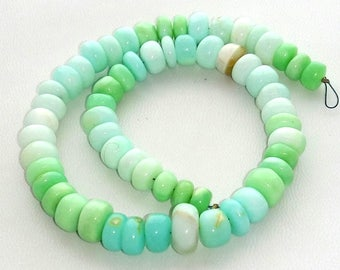 """PERUVIAN OPAL smooth beads,sky blue and green Peru opal smooth rondelles ,Very nice quality,  6 mm -- 11 mm approx,12""""strand[E1488]"""
