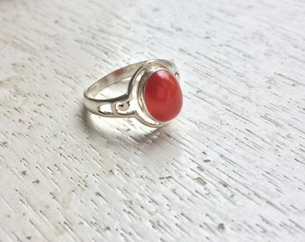 Coba Ring - Vermilion Glass and Sterling Silver Ring