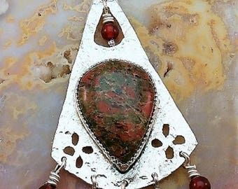 Handcrafted textured sterling silver pendant with unakite cabachon and carnelian beads