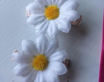 Daisy Summer Glitter hair clips