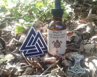 BogaTyr Arctic Siberian Ginseng 50x Spagyric Extract free mjolnir pendant and Volknut patch, berzerker viking herbs