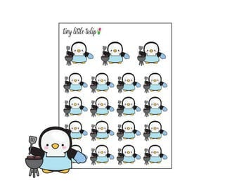 Planner Stickers Penguin Grill Out
