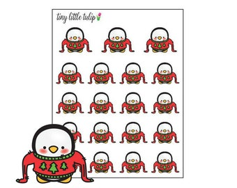Planner Stickers Christmas Penguin in a Sweater