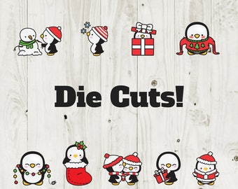 Die Cut Sticker Christmas Penguin Die Cuts