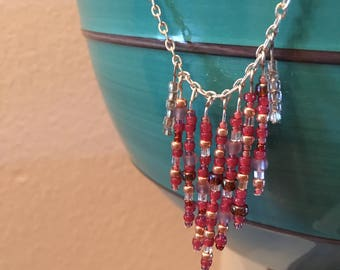Pink seed bead chandelier necklace