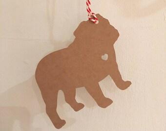 English Bulldog Gift Tag/Christmas - PACK OF FIVE