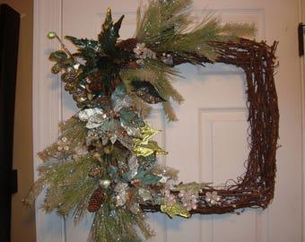 Winter wreath, Glittered poinsettia Wreath, Grapevine wreath, Christmas wreath,