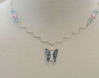 Shell Butterfly on Scalloped Chain