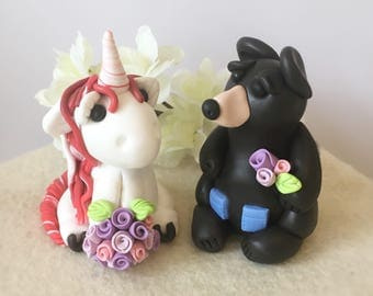 Unicorn Bride and Black Bear Groom Clay Wedding Cake Topper