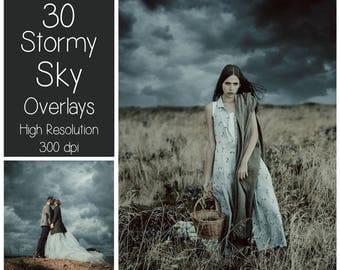 30 Stormy Sky Overlays - Cloudy Sky Textures - Rain - Photoshop Overlays - Overcast - Digital Background - Photography Overlay - Backdrop