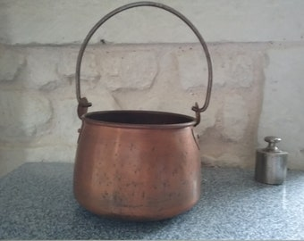 Wearing VILLEDIEU copper pot, cauldron-shaped planter, planter Vintage, worn plant placed or suspended, made in France