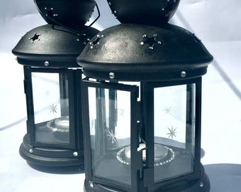 IKEA ROTERA Black Lantern Indoor or Outdoor with Free Tea light Bling!