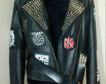 Women's U.K.Punk Leather Jacket Size M