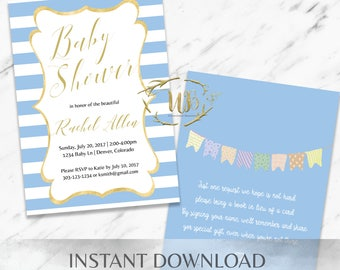 Blue Baby Shower Invitation Template - INSTANT Download