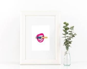 Lips Biting LipSense Tube Makeup Printable