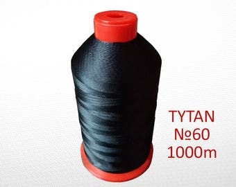 N60 Black thread for stitching leather - Leatherwork thread strings - Polyester thread machine sewing - Leather craft thread sewing 1000 m