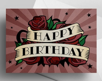 Happy Birthday—blank greeting card tattoo roses floral strong pink mauve stars sunburst