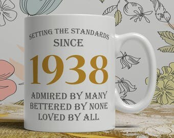 Setting standards, 80th Birthday mug, 80th birthday idea, born 1938 birthday, 80th birthday gift, 80 years old, Happy Birthday, EB 1938 Grey