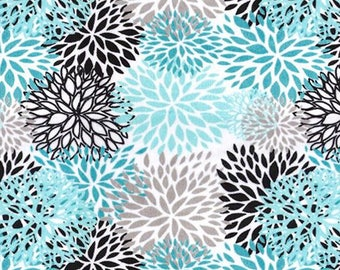 Minky Fabric by the Yard - Teal Black Blooms Cuddle - (Shannon Fabrics - Premier Blooms Teal)