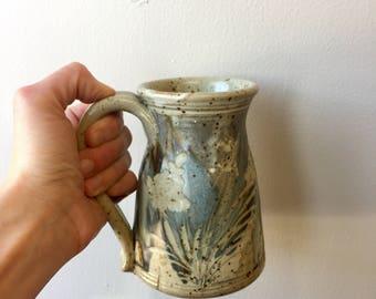 Tall blue stoneware mug, handmade pottery, wheelthrown, coffeemug