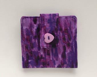 minimal wallet , women's bifold wallet,womens wallet zipper,purple wallet,money clip,fabric wallet,slim wallet,vegan wallet