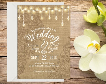 Rustic Wedding Invitation with Setup, Boho Wedding Invitation, Wedding Invitation Template, Wedding invitation, Printable wedding invitation