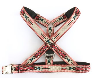 Native dog harness S to XL . Woven no choke adjustable harness, Western / Native American style, gold or silver