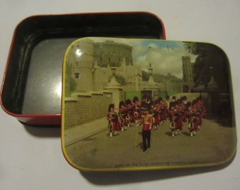Vintage Riley's Toffee Tin with Band of the Scots Guards at Windsor Castle. Made in Halifax England