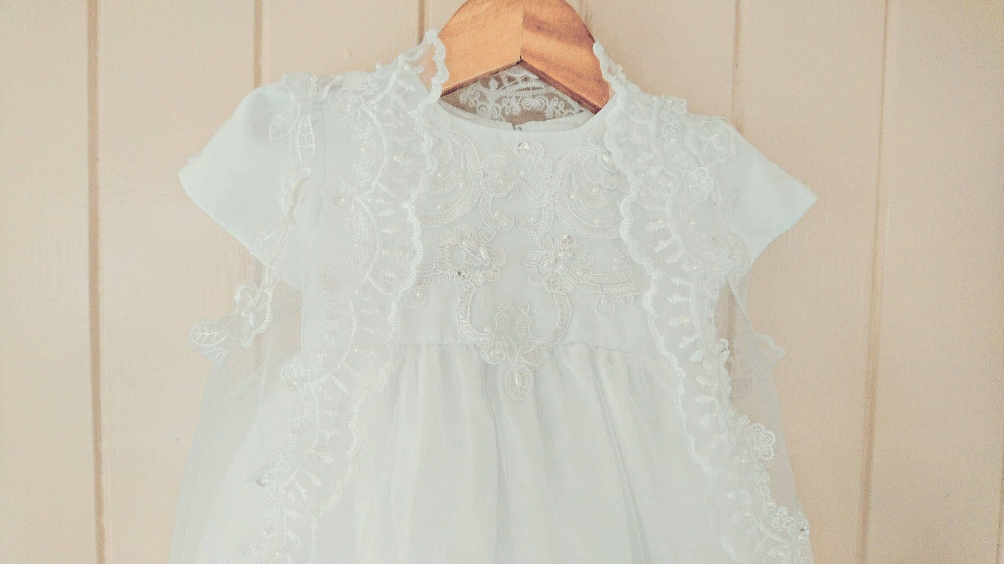 White lace Girls baby Baptism Dress Christening gown Lace Bodice