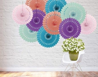 Paper Rosette backdrop, Mint, Coral, Wedding background, Eventail decoratif, paper decorating, paper fan backdrop, Birthday, 10 Fans, 16""