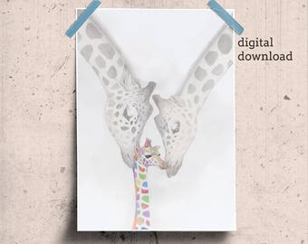 Printable Baby Giraffe Poster, Giraffe Gift Print, Giraffe Kids Room, Colorful Giraffe Art, Safari Theme Art, Giraffe Family Print Wall Art