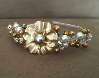 Golden Flower Vintage Headband