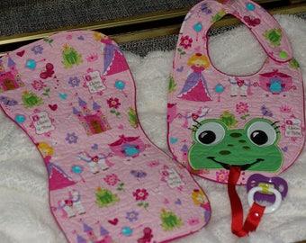 Girl Frog Bib/Pacifier Holder and Burp Cloth