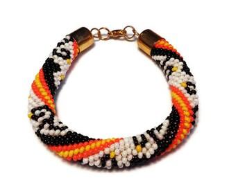 Roll On Bracelet Crochet Bracelet Beads Beaded Bracelets Jewelry Glass Bead Bracelet Womens Bracelet Seed Bead Bracelet Nepal Bracelet Gift