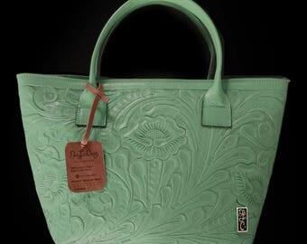 Chiselled Handbag (Kahlo Flower) Genuine Leather