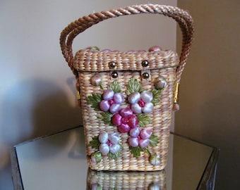 vintage 1950s/1960s straw and raffia basket purse