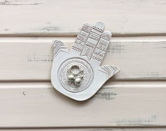 Ring holder, Good luck symbol, Ceramic hamsa, Wedding ring holder, Jewelry dish, White hamsa, Ring dish