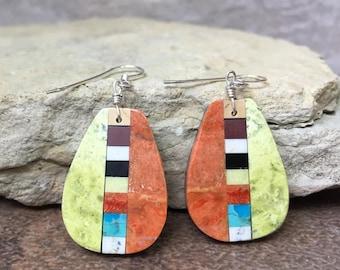 Native American Indian Jewelry Santo Domingo Mosaic Inlay Multi Stone, Apple Coral, Lightweight Dangle Earrings - Rudy & Mary Coriz