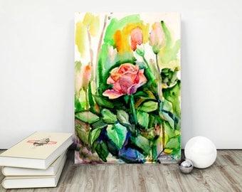 Rose canvas art Flower canvas print Floral canvas print Pink flower canvas Large size canvas flower Pink picture PaintingOnlineStore
