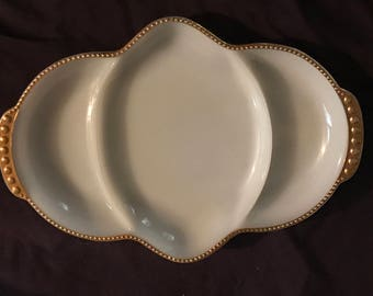 Vintage Fire King Relish Divided Serving Tray Milkglass with Gold Gilt Trim