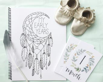 Baby Book | Modern Baby Album, Gender Neutral, Baby Memory Book,Monochromatic, Bohemian, Tribal, Baby, Scrapbook, Baby Journal, Dreamcatcher