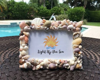 Handcrafted sea shell picture frame