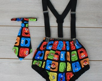 Sesame Street Cake Smash Outfit - First 1st Birthday Outfit - Photography Prop