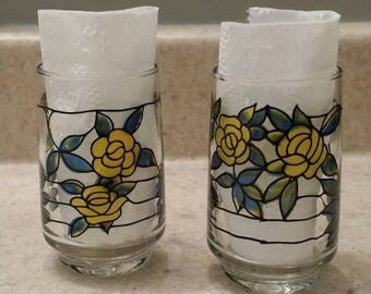 Faux Stained Glass Juice Glasses