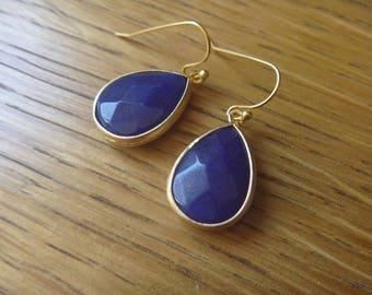 Gold lapis lazuli earrings