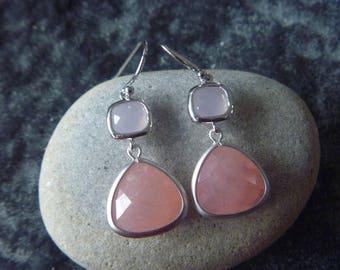 Silver Earrings: pink Crystal